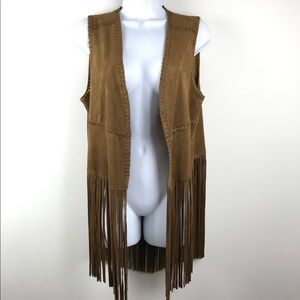 Blank NYC Faux Suede Fringed Vest Sz. S